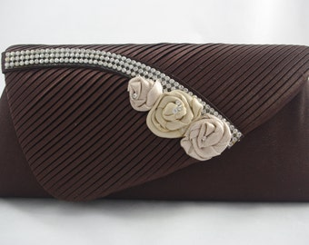 Brown Clutch, Chocolate Brown Bridesmaid Clutch, Brown and Champagne Bridesmaid Handbag, Mother of the Bride Brown Clutch, Wedding Handbag