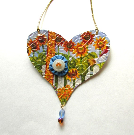 Metal heart ornament recycled eco friendly