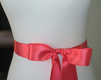 Dark Coral Wedding Sash- 1.5 Inch Simple Satin Sash- Wedding Belt- Bridal Sash- Flower Girl Sash- Bridesmaid Sash- Plain Sash- Simple Sash