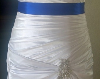 Cobalt Blue Wedding Sash- 1.5 Simple Satin Sash- Bridal Belt- Blue Wedding- Winter Wedding- Flower Girl Sash- Ready to Ship