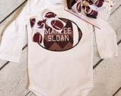 Football Personalized Baby Girl Set With Matching Bow, Personalzied Baby Girl Outfit, Football Bodysuit