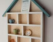 Handmade Wooden Display House- storage, shelving unit. Blue Roof / Orange Floral Wallpaper