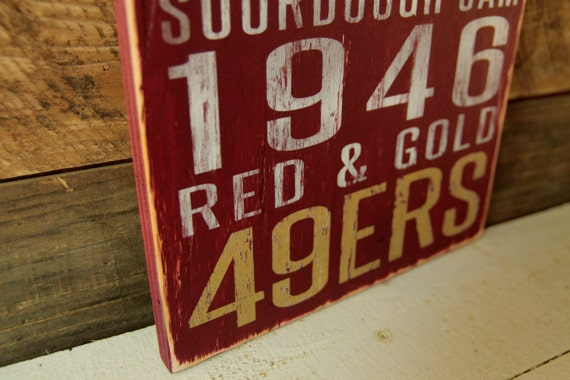 San Francisco 49ers Distressed Wood Sign--Great Father's Day Gift!