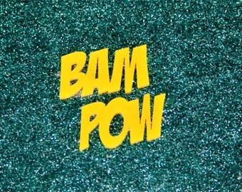 2x laser cut acrylic bam pow nameplate cabochon