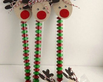 Custom Reindeer Candy Sticks...Christmas Favors