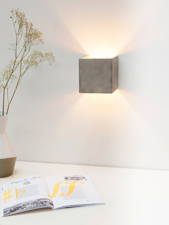 Concrete wall lamp b3 indirect lighting gold square rare - Groaye wandlampe ...