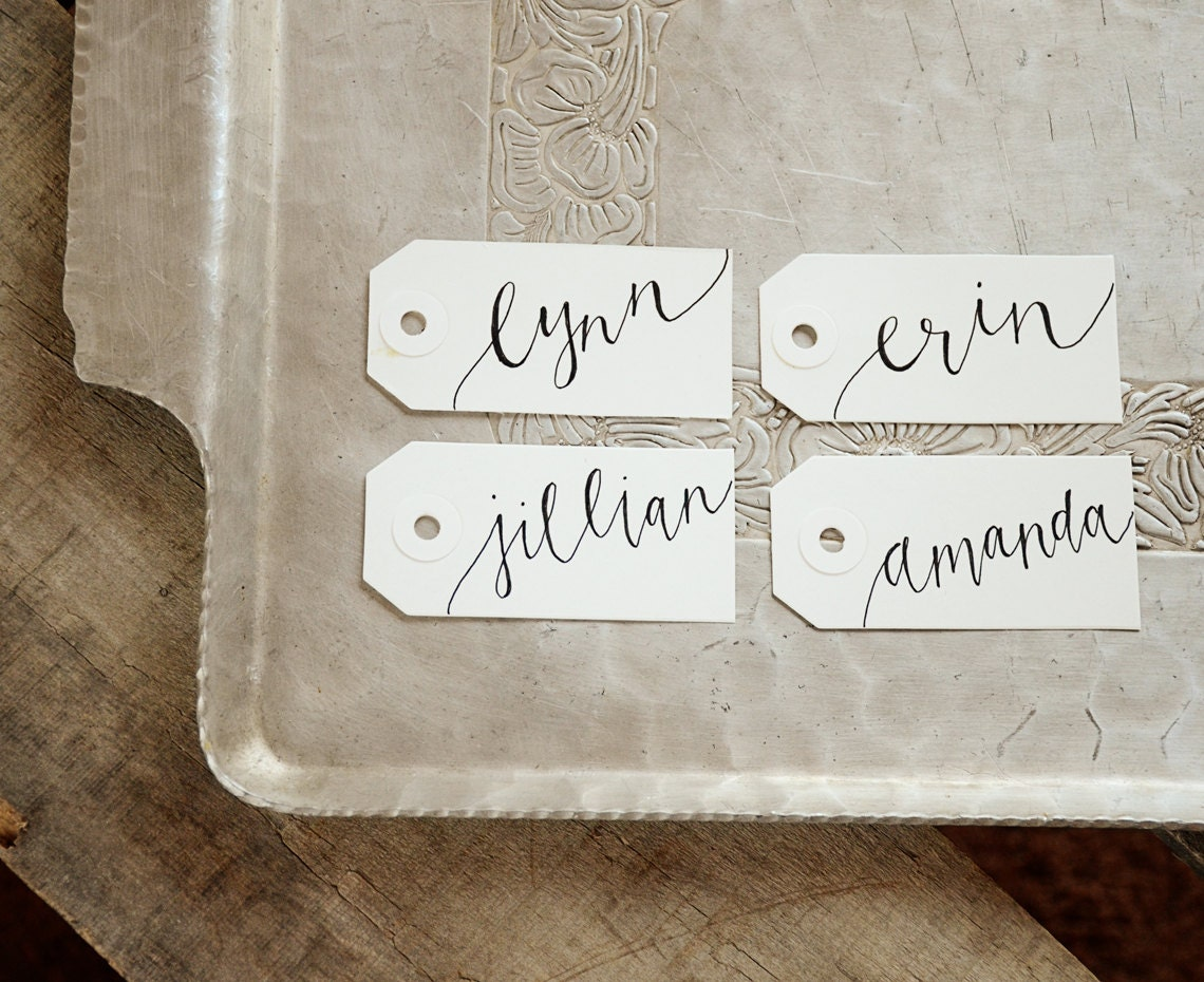 Handwritten calligraphy personalized name tags gift