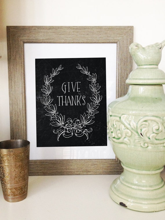 Printable Quote Digital Art Print: thanksgiving holiday chalkboard