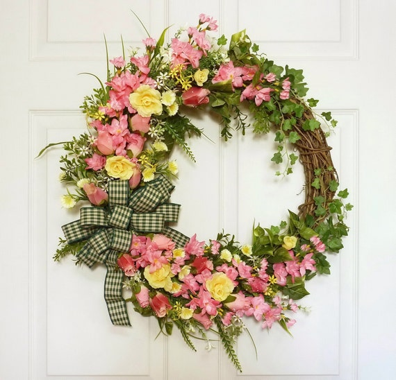 Pink rose wreath spring summer wreath front door wreath mothers day