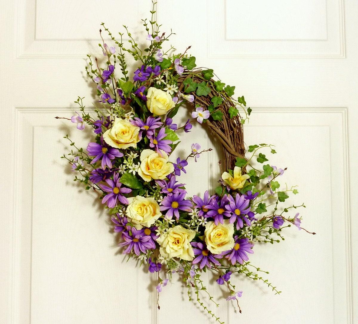 yellow rose spring wreath front door wreath door by floralwoods. Black Bedroom Furniture Sets. Home Design Ideas