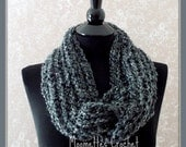 Charcoal Gray Infinity Scarf Soft Warm Cowl Neck Warmer Solid Grey Womens Ladies Teens Handmade - MoomettesCrochet