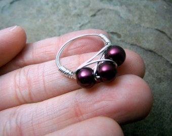 Purple Pearl Ring, Wire Wrapped Ring, Purple Ring, Cluster Ring, Wire Wrapped Jewelry Handmade, Purple Bead Ring