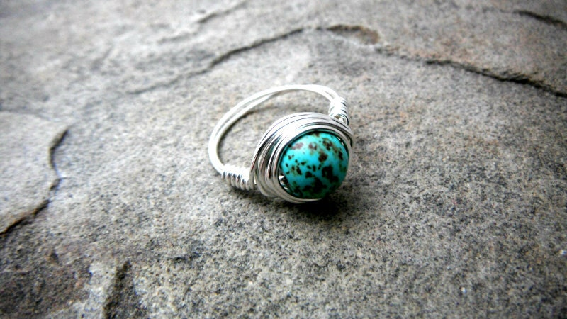 Blue Turquoise Ring Wire Wrapped Ring Blue Stone Ring Blue
