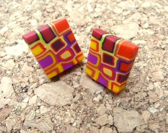 Geometric Polymer Clay Colorful Post Earrings