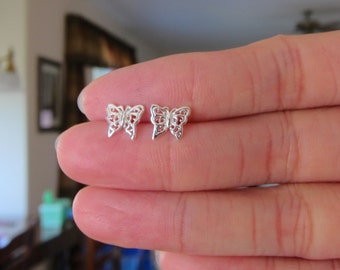 Beautiful Sterling Silver Filigree Butterfly Ear studs, Dainty earrings, Butterfly Jewelry.
