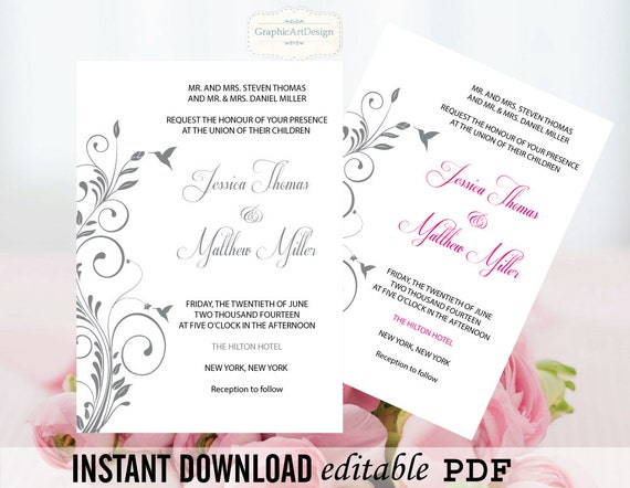Flourish Wedding Invitations: Flourish Wedding Invitation Editable PDF By GraphicArtDesign