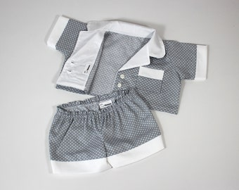 Grey doll PJs for hippo soft toy - Doll to dress - Grey and white polka dot pajamas - Handmade unique dolls clothes