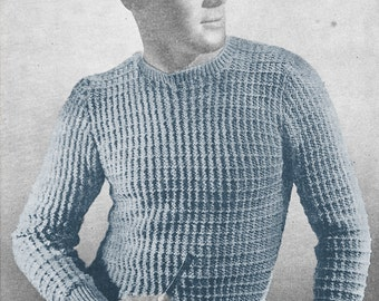 1940s Knitting Pattern for Mens Long Sleeve Pullover / Sweater - Digital PDF