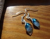 Silver Calla Lily Earrings with Blue Crystal Beads
