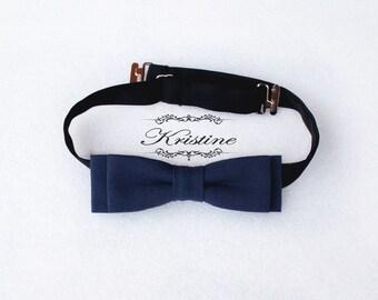 Blue navy slim bow tie - pre tied skinny bow tie