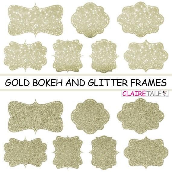 "Digital clipart labels: ""GOLD BOKEH & GLITTER frames"" bokeh and glitter clipart frames, labels, tags on gold background"