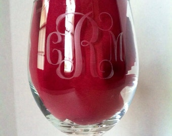 Etched Monogram Wine Glass, Large Wine Glass, Etched Wine Glass