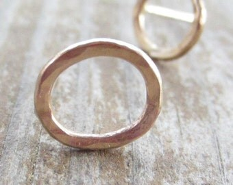 SALE! Little Gold Posts, Small Gold Circle Earrings, Solid 14k Gold