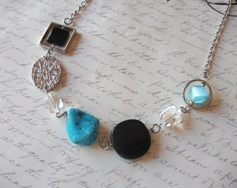 Modern black and turquoise necklace