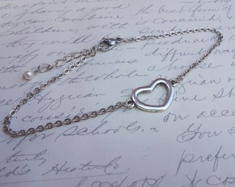 Silver heart anklet, bracelet, or necklace