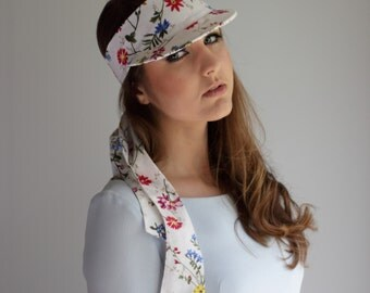 Sunvisor with floral print, summer cap, sunvisor with bow