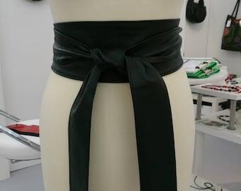 Black handmade soft real leather obi belts sash belts tie belts double wraps plus size belts XL XXL boho bohemian fashion trends for Her