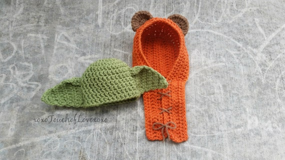 Ewok & Yoda Crocheted Bonnets