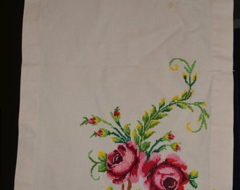 Vintage Cross Needlepoint Table Runner 16 x 55 inches
