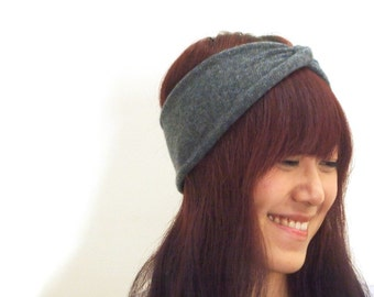 100% Pure Cashmere Handknit Turban/ Haute Headband in Heather Charcoal & Blue, Tribal style in Winter