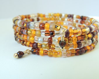 Golden Brown Memory Wire Bracelet, Fall Jewelry, Glass Bead Memory Wire Bracelet, Accessories, Fashion Jewelry, Gift Idea. Item150
