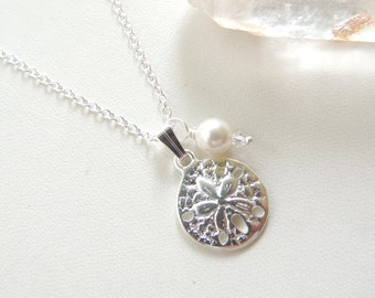 Silver Sand Dollar Necklace, Beach Wedding Necklace, Bridesmaids Necklaces, Sand Dollar Bridal Necklace, Gift Idea.  Item189