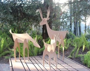 32in tall Cardboard Christmas Deer Family