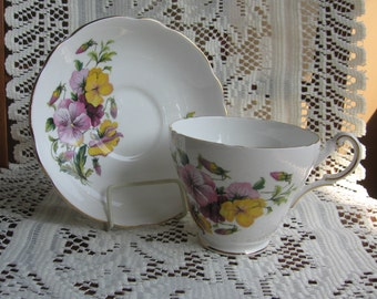 Vintage REGENCY Pansy Yellow Purple Tea Cup & Saucer Bone China England Set