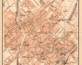 1909 Mulhouse, France, Mülhausen, Frankreich, Milhüsa, Alsace, Haut-Rhin, Doller, Antique Map