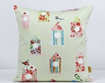16x16, pillow, Throw pillow, Decorative throw pillow cover, Shabby Chic, Aviary, 16 inch, vintage chic, cushion cover, Handmade, Birds, pink