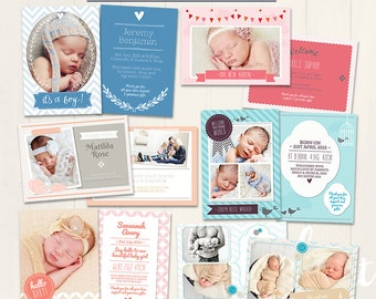 Bundle Pack of Birth Announcement Cards (Baby Announcement Cards) - Photoshop Templates for photographers (BAB1) - INSTANT DOWNLOAD