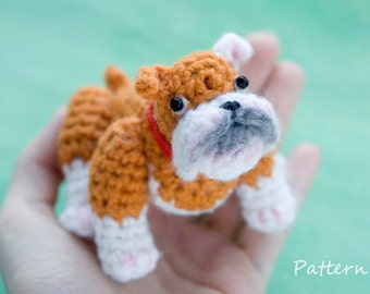 Dog CROCHET toy PATTERN / bulldog amigurumi pattern / PDF tutorial for crochet puppy  / crochet design for bull dog toy / diy bulldog doll