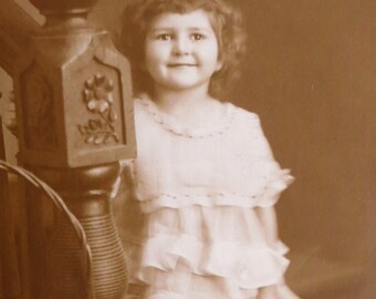 Adorable 1910's Sweet Little Girl With A Crooked Smile Studio Photo - Free Shipping