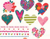 Hearts Digital Clip Art - EPS file - 13 Hand Drawn Illustrations - Commercial Use - instant download