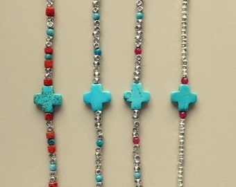 Turquoise Cross Bracelets - Ruby, Vintage Beads, Silver and Tibetan Silver Boho Stacking Bracelets