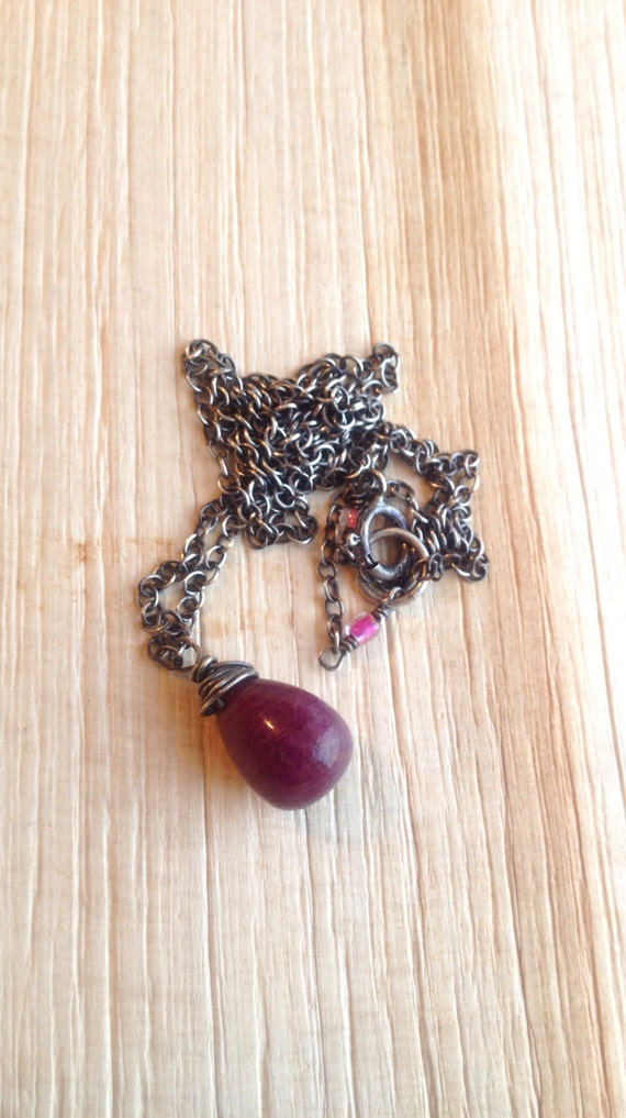 Ruby Pendant Necklace, Genuine Ruby Red briolette, Ruby solitaire, Ruby Red Gemstone Gift for Her July Birthstone , Delicate Ruby