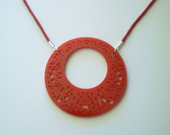 Symmetrical Coral Circle Laser Cut Acrylic Plastic Necklace in Red