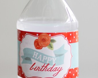Printable Picnic Party water bottle labels - Floral - Cabbage roses - Gingham - Polka dot - Birthday party - Shower - Customizable