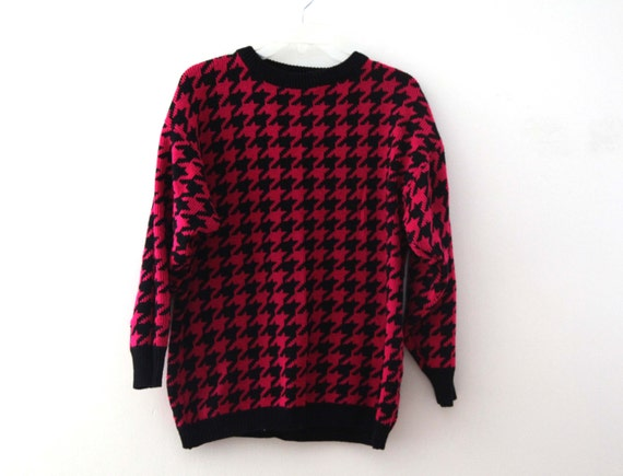 Vintage 80s Sweater houndstooth hot pink and black