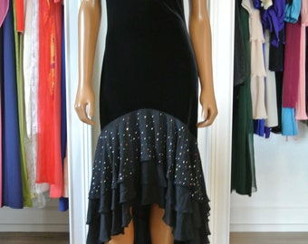 Betsey Johnson Black Velvet Dress Party Evening Dress High Low Chiffon Tiered Long/ M